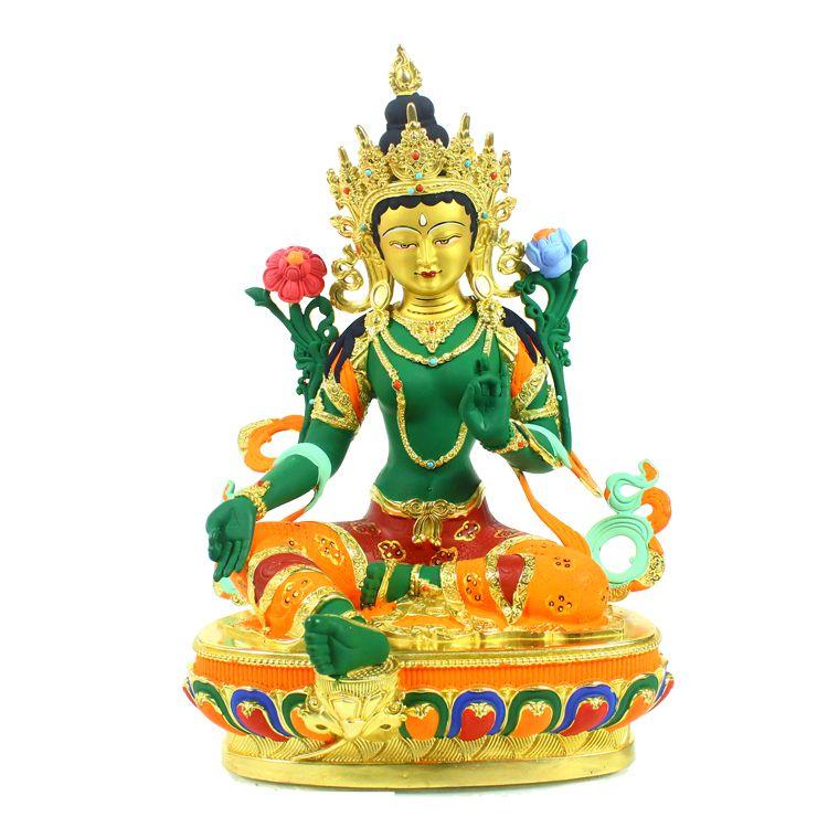 绿度母佛像 彩绘 密宗铜佛像