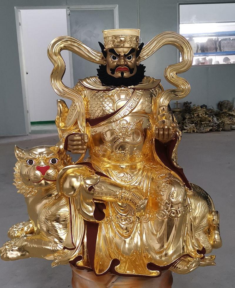 赵公元帅贴金箔铜像