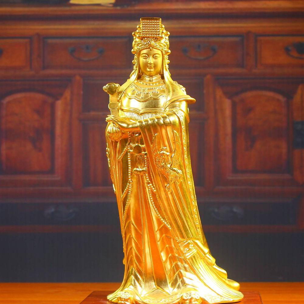 妈祖神像摆件 贴金妈祖铜像